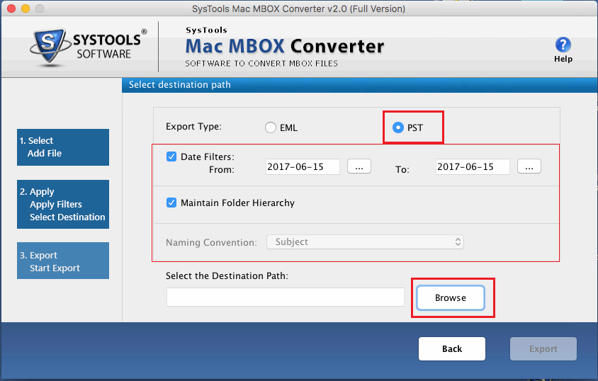 export mbox to outlook pst, eml